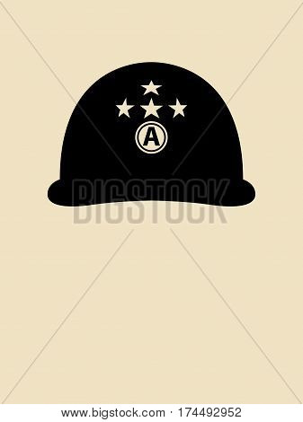 Symbol illustration of a helmet used by general Patton