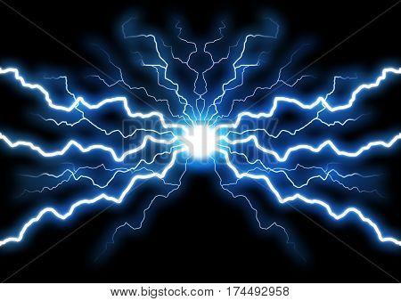 Illustration of abstract blue lighting on dark background