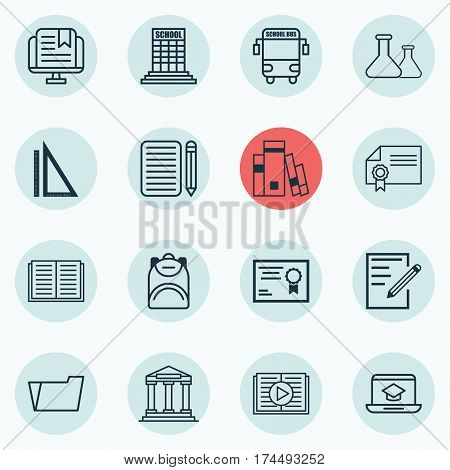 Set Of 16 School Icons. Includes Distance Learning, E-Study, Home Work And Other Symbols. Beautiful Design Elements.