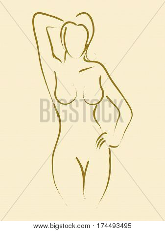 Sketch illustration of a female figure in sexy pose