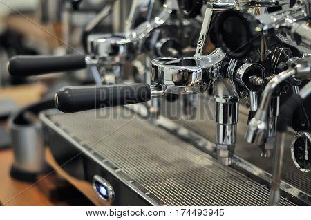 Vintage design espresso machine standby for brewing coffee.