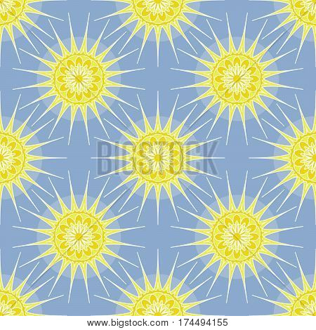Vector seamless pattern with yellow geometric suns on a light blue background. Abstract wrapper for a product print for fabric.