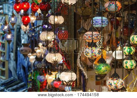 Turkish Bazaar Lamps Market Istanbul Turkey