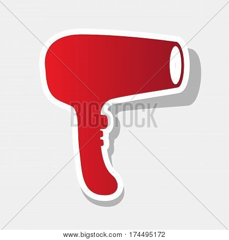 Hair Dryer sign. Vector. New year reddish icon with outside stroke and gray shadow on light gray background.