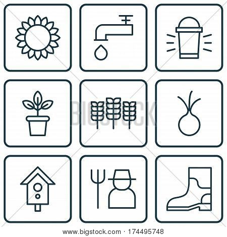 Set Of 9 Garden Icons. Includes Birdhouse, Hang Lamp, Garlic And Other Symbols. Beautiful Design Elements.