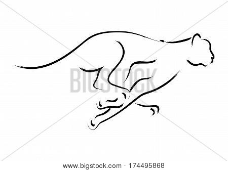 Simple graphic of a cheetah on white background