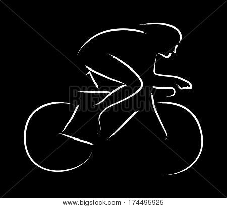 Simple graphic of a cyclist on black background