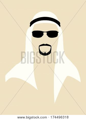 Simple graphic of man with beard wearing a headscarf and sunglasses