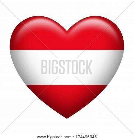 Heart shape of Austrian flag isolated on white