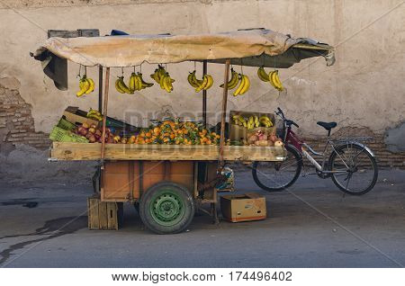 Mobile fresh fruit stand in the Streets from  Marrakesh morocco