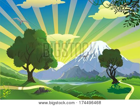 Landscape - the view from the hill on the volcano. Mountain range. Nature countryside. Vector illustration