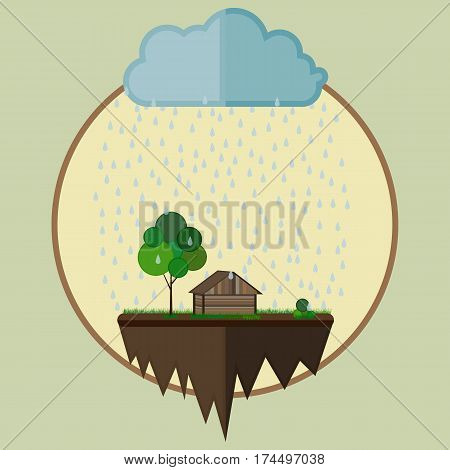 Flying island with a house and tree as farm oasis below a cloud with falling rain drops. Vector illustration environmental concept.
