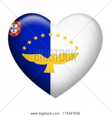 Heart shape of Azores flag isolated on white