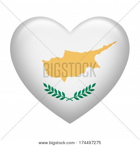 Heart shape of Bosnia Herzegovina flag isolated on white