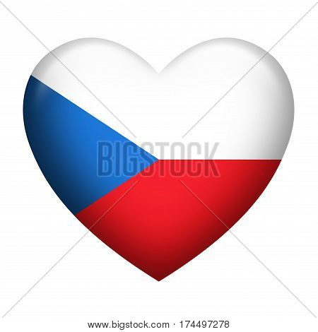 Heart shape of Czech Republic flag isolated on white