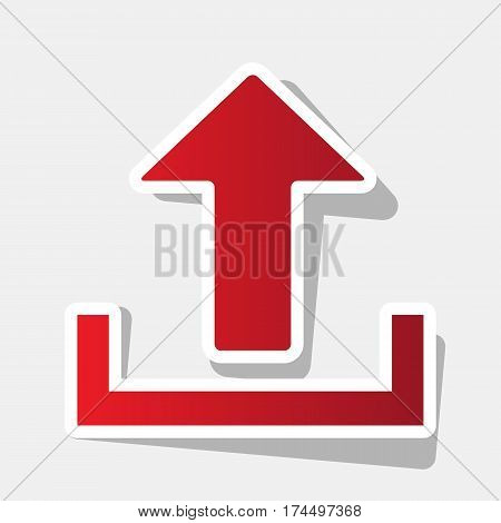 Upload sign illustration. Vector. New year reddish icon with outside stroke and gray shadow on light gray background.