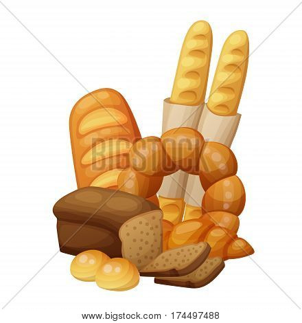 Bakery: bread, buns, croissant, loaf . Cartoon vector illustration isolated on white background