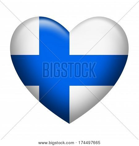 Heart shape of Finland insignia isolated on white