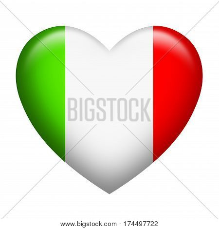Heart shape of Italy insignia isolated on white
