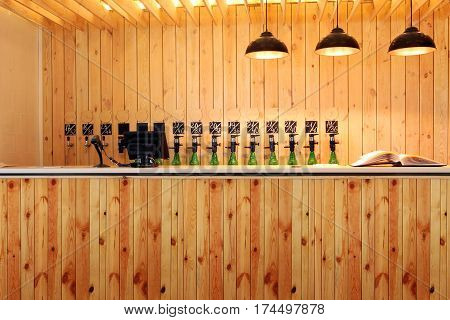 The Bar Beer Spill. Beer Counter. Mass Beer On Tap. I Poured A Lot Of Beer Bottles