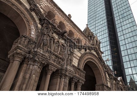 Details of Trinity Church in Boston, Massachusetts