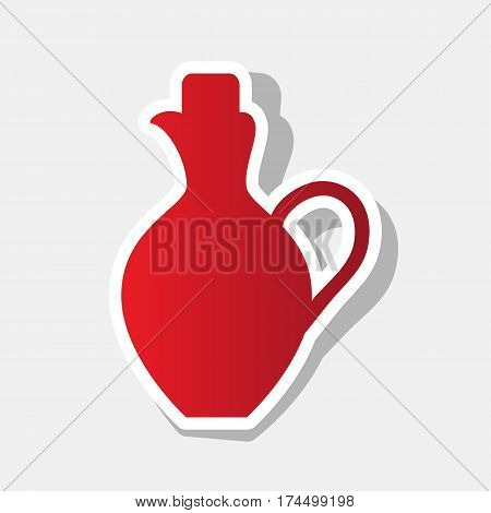 Amphora sign illustration. Vector. New year reddish icon with outside stroke and gray shadow on light gray background.