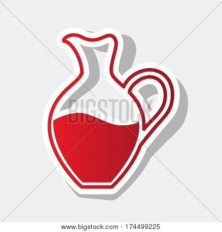 Amphora sign. Vector. New year reddish icon with outside stroke and gray shadow on light gray background.