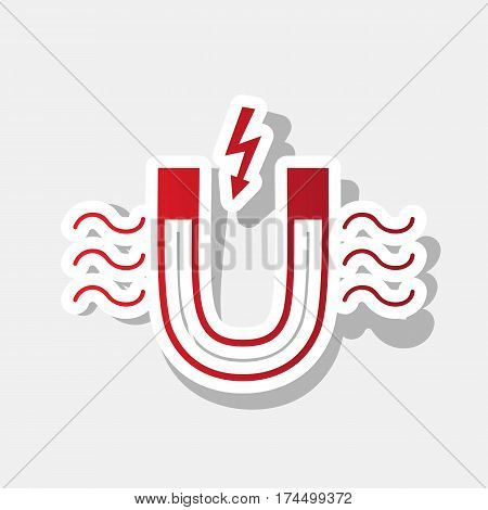 Magnet with magnetic force indication. Vector. New year reddish icon with outside stroke and gray shadow on light gray background.