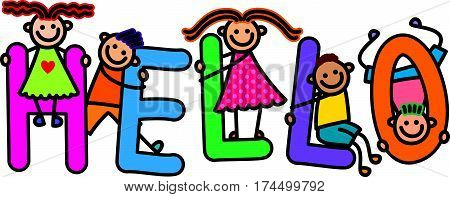 Happy and diverse children climbing over letters of the alphabet that spell out the word HELLO.