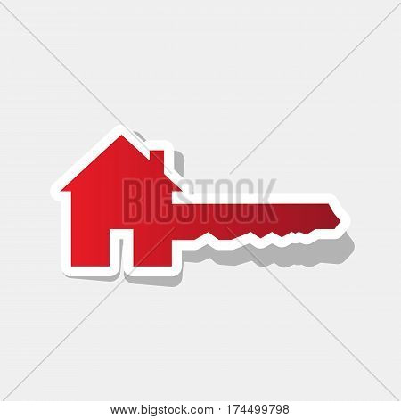Home Key sign. Vector. New year reddish icon with outside stroke and gray shadow on light gray background.