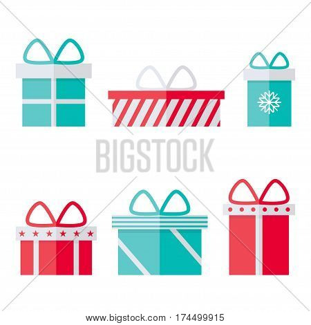 Present box isolated icons on white background. Flat vector illustration design.