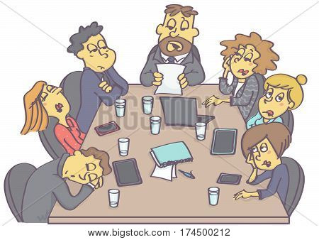Exhausting business meeting with sleepy employees and boring manager or boss.