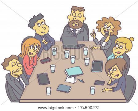 Business meeting with woman employee having a suggestion while coworkers are making fun of her.