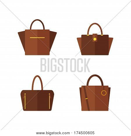 Bag icon isolated on white background. Women bags collection. Flat vector illustration design.