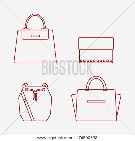 Bag icon isolated on white background. Women bags set. Flat line vector illustration design.