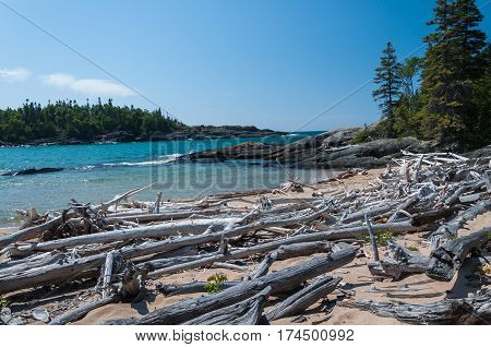 Northern shore of Great Lake Superior. Pukaskwa National Park of Canada. Ontario Canada