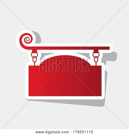 Wrought iron sign for old-fashioned design. Vector. New year reddish icon with outside stroke and gray shadow on light gray background.