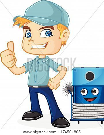 HVAC Technician giving thumb up isolated in white background