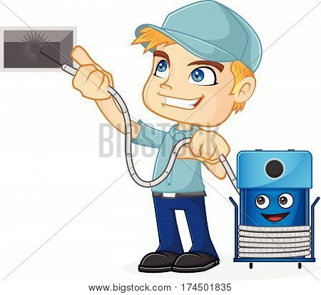 HVAC Technician cleaning air duct isolated in white background