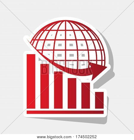 Declining graph with earth. Vector. New year reddish icon with outside stroke and gray shadow on light gray background.