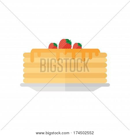 Pancakes icon isolated on white background. Pancakes with syrup and fruits. Breakfast food. Flat style vector illustration.