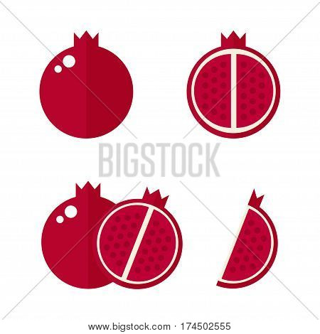 Pomegranate icon isolated on white background. Whole and cut pomegranate set. Tropic fruit. Flat vector illustration design.