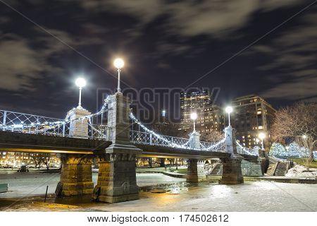 A night view of Boston Garden Bridge