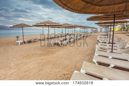 Morning at a public beach in Eilat - famous resort and recreational city in Israel