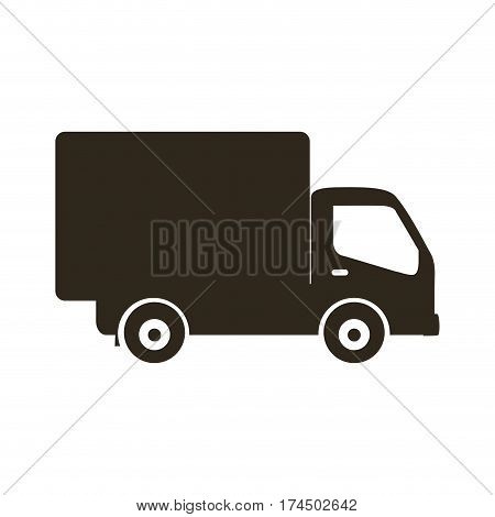 silhouette transport truck with wagon icon flat vector illustration