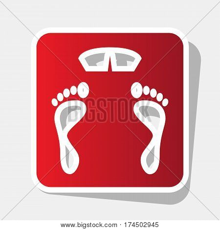 Bathroom scale sign. Vector. New year reddish icon with outside stroke and gray shadow on light gray background.