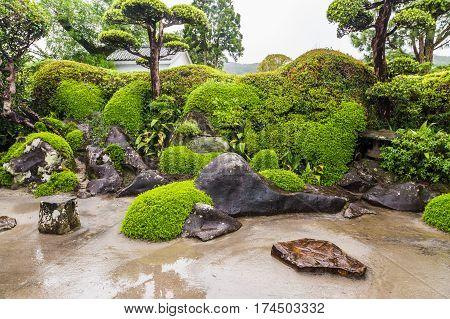 Beautiful Japanese garden in Chiran Samurai district in Kagoshima Japan
