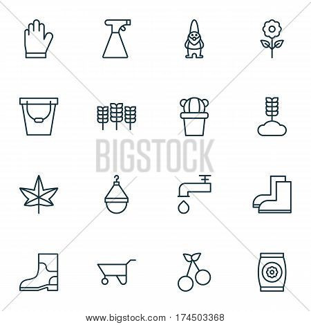 Set Of 16 Farm Icons. Includes Spigot, Cereal, Protection Mitt And Other Symbols. Beautiful Design Elements.