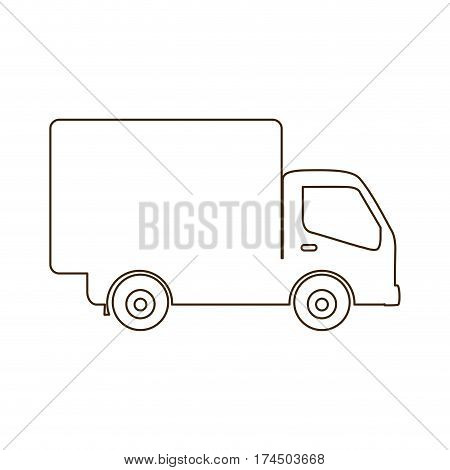 sketch contour transport truck with wagon icon flat vector illustration