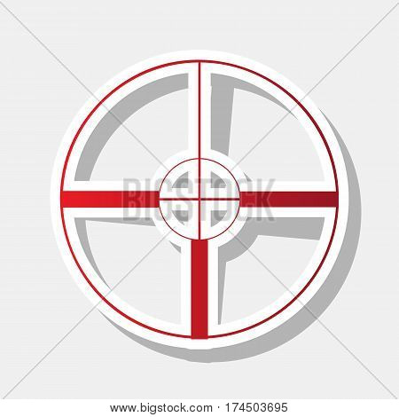 Sight sign illustration. Vector. New year reddish icon with outside stroke and gray shadow on light gray background.